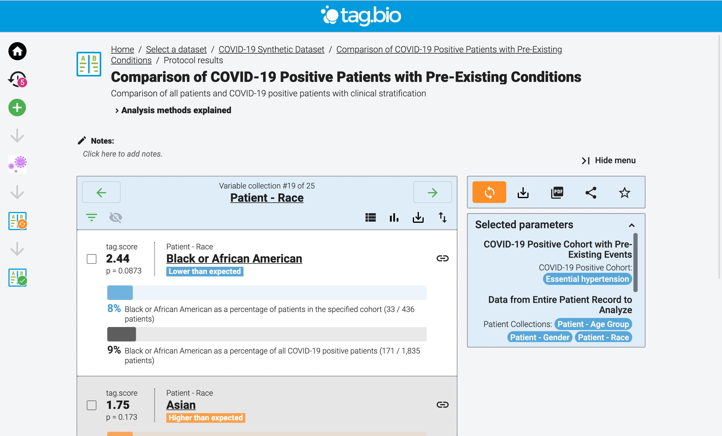 Tag.bio analysis - cohort comparison